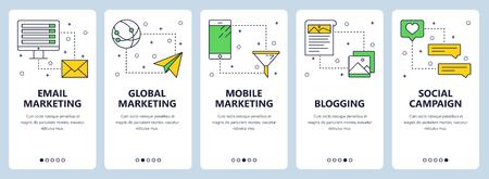 Vector modern info-graphics thin line email marketing vertical web banner set.