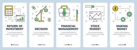 Vector set of vertical banners with Return of investment, Decision, Financial management, Stock market, Making money website templates. Modern thin line flat style design.