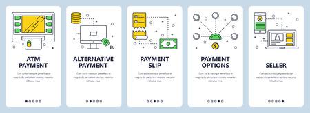 Vector modern info-graphics thin line atm payment vertical web banner set.