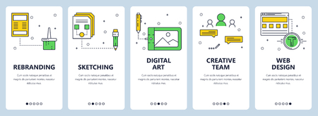 Vector modern info-graphics thin line re-branding vertical web banner set.