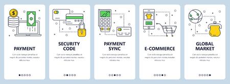Vector modern thin line payment vertical web banner set