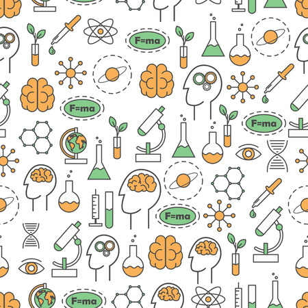 Science vector flat line art seamless pattern.