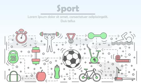 Sport advertising vector illustration in flat linear style Illustration