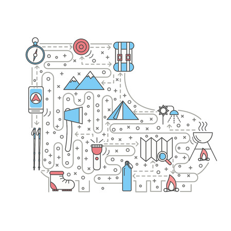 Hike concept illustration eith a tent, fire, mountain and equipment in the shape of a boot  イラスト・ベクター素材