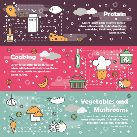 Illustration of a food concept banner set with protein, vegetables and mushrooms