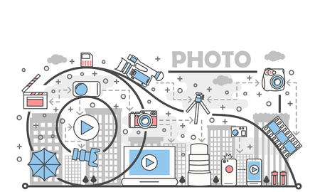 Photo concept vector illustration with a blue camera, laptop, phone and film elements