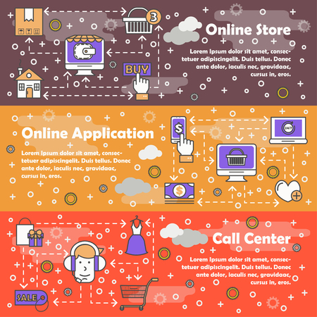 Online shopping vector flat line art banner set