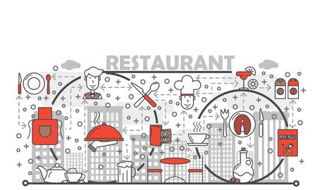 Restaurant concept vector flat line art illustration Çizim