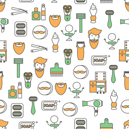 Vector flat line art barbershop seamless pattern