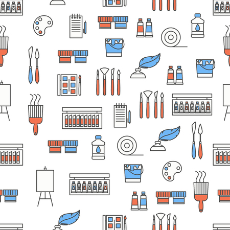 Vector seamless pattern with decorative painting symbols, icons. Art background, wrapping paper texture thin line art flat style design.