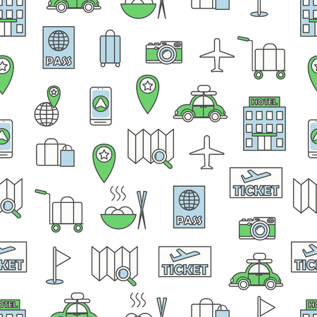 Vector seamless pattern with decorative travel symbols, icons. Travelling background, wrapping paper texture thin line art flat style design. Illustration