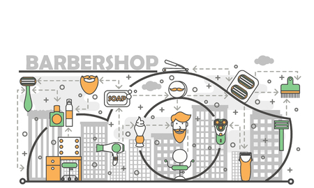 Barbershop concept vector illustration. Modern thin line art flat style design element with shaving and grooming symbols, icons for website banners and printed materials. Illustration