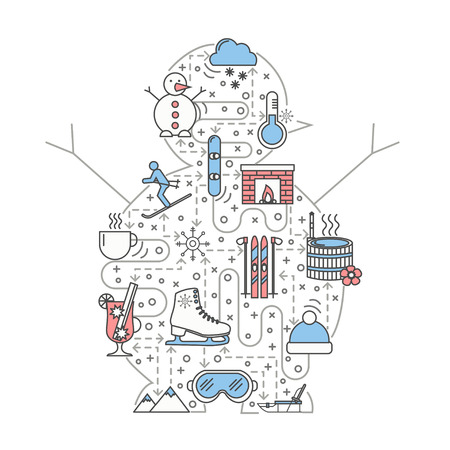 Winter vector illustration. Modern thin line art flat style design element in the shape of snowman with winter fun symbols, icons for website banners and printed materials.