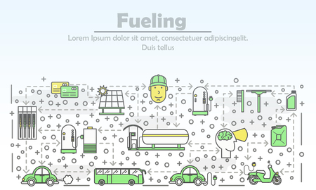 Fueling concept vector illustration. Modern thin line art flat style design element with car solar charging and petrol fueling symbols, icons for website banners and printed materials. Vettoriali