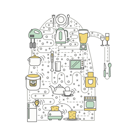 Kitchen concept vector illustration. Modern thin line art flat style design element in the shape of electric kettle with kitchen appliances for website banners and printed materials. Ilustração