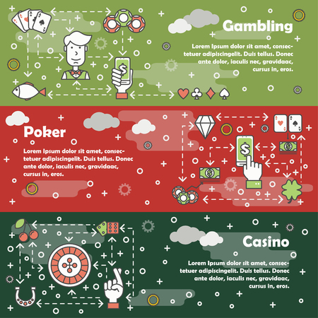 Vector set of horizontal banners with Gambling, Poker and Casino line art flat style design elements, web templates. Vettoriali