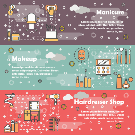 Vector set of horizontal banners with Manicure, Makeup and Hairdresser shop thin line art flat style design elements, web templates.