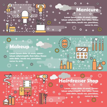 Ensemble de vecteur de bannières horizontales avec manucure, maquillage et salon de coiffure boutique éléments de conception de style plat art ligne mince, modèles web.
