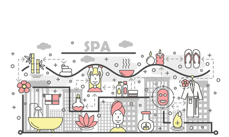 Spa and beauty concept vector illustration. Modern thin line art flat style design element with spa salon symbols, icons for website banners and printed materials. Banque d'images - 97640434