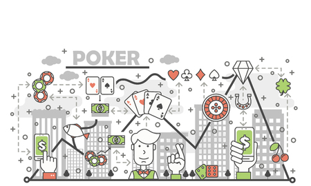 Poker card game concept vector illustration. Modern thin line art flat style design element with gambling symbols, icons for website banners and printed materials. Banque d'images - 97640435
