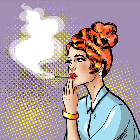 Fashionable pin-up smoking girl with smoking cigarette in her hand where there is place for text