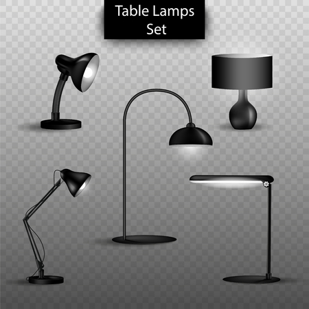 Vector set of 3d isolated table lamps on transparent background. Elements of home interior design