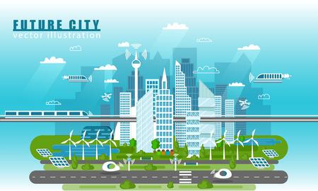 Paesaggio della città intelligente del futuro concetto di vettore illustrazione in stile piatto. Skyline urbano della città con moderne tecnologie e auto a guida autonoma. Infrastrutture e trasporti futuri Vettoriali