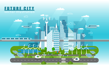 Smart city landscape of the future vector concept illustration in flat style. City urban skyline with modern technologies and self-driving cars. Future infrastructure and transportation Stock Photo