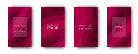 Vector set of abstract cover backgrounds in paper cut style. Paper art design template for business presentations, report covers, flyers, posters, banners Stock Photo