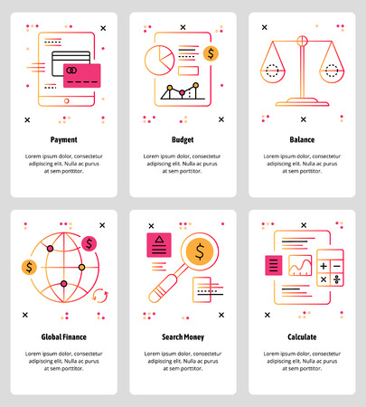 Vector set of mobile app onboarding screens. Payment, Budget, Balance, Global Finance, Search Money, Calculate web templates and banners. Thin line art style design icons for website menu. Illustration