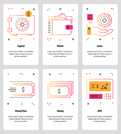 Vector set of mobile app onboarding screens. Capital, Wallet, Coins, Money Flow, Money, ATM web templates and banners. Thin line art style design icons for website menu.