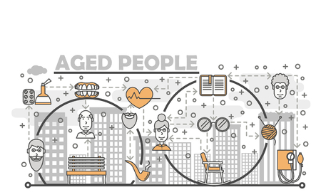 Aged people poster banner template. Vector thin line art flat style design elements for website banners and printed materials. Ilustração