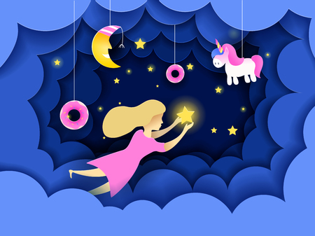 Child touching the stars in the sky. Kids dream vector illustration in paper art origami style. Paper cut design concept. Fairy tale wallpaper in baby room