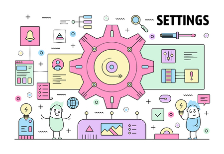 Settings poster banner template. Vector thin line art flat style design elements, symbols, icons for website banners and printed materials. Illustration