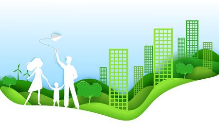 Famiglia felice con il concetto di città verde bambino. Illustrazione di vettore nello stile di origami di arte di carta. Design artigianale con carta tagliata. Manifesto di ecologia.