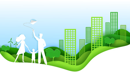 Happy family with kid green city concept. Vector illustration in paper art origami style. Paper cut craft design. Ecology poster.