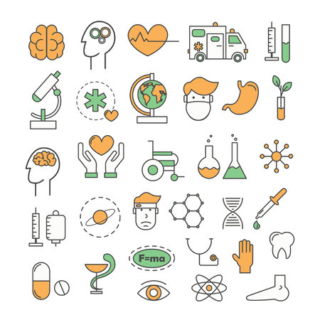Medicine icon set. Vector thin line art flat style design elements isolated on white background.
