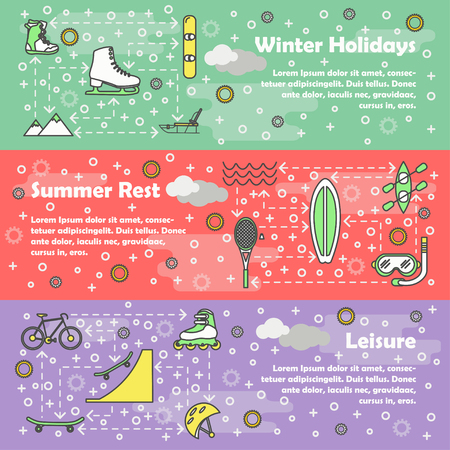 Vector thin line style design leisure banner set Stock Photo