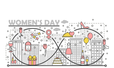 Women day poster banner template. Holiday cake, flowers, gifts, champagne, balloons, dress, shoe etc. Vector thin line art flat style design elements, icons for website banners and printed materials.