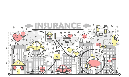 Insurance poster banner template. Life, health, property, deposit insurance symbols. Vector thin line art flat style design elements, icons for web banners and printed materials.