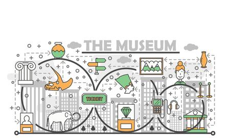 Vector thin line art museum poster banner template