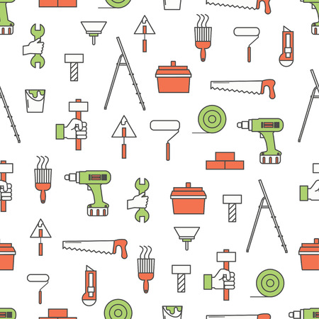 Vector seamless pattern with hand work tools for construction, home repair, renovation. Thin line art flat style design repair background, wallpaper.