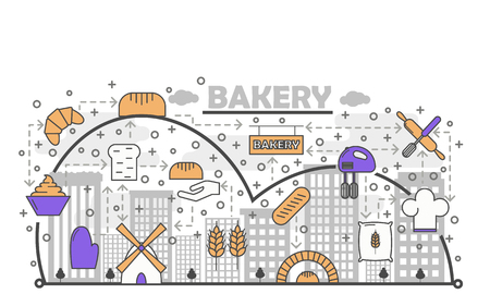 Dynamic Bread Baking Process with Line Art Flat Vector Icons