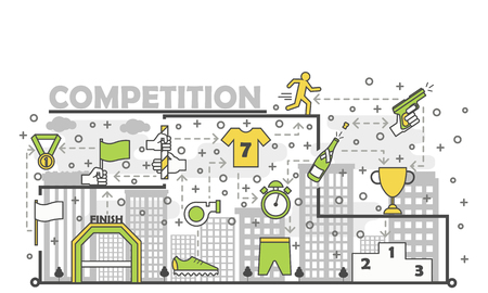 Sport competition poster banner template. Medallion with ribbon, trophy cup, clothing, relay race etc. Vector thin line art flat style design elements, icons for website banner and printed materials.