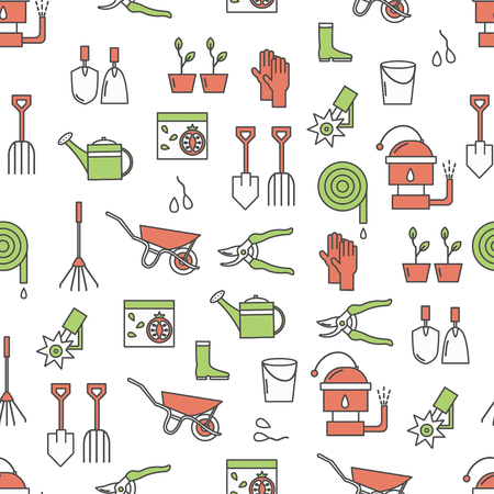 Vector seamless pattern with garden tools, equipment and clothing. Thin line art flat style design gardening background, wallpaper. 向量圖像
