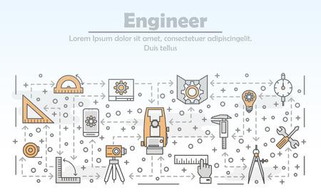 Vector thin line engineer poster banner template Vektorové ilustrace
