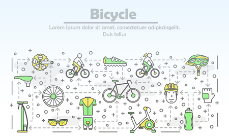 Bicycle advertising poster banner template. Bike, exercise bicycle, race cycling gear and clothing. Vector thin line art flat style design elements, icons for website banner and printed materials