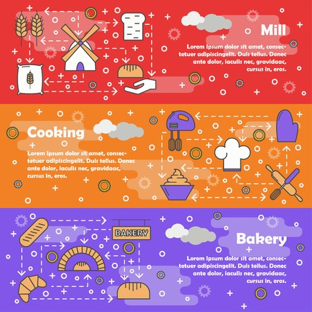 Bakery, Mill and Cooking Horizontal Web Banner Vector Templates