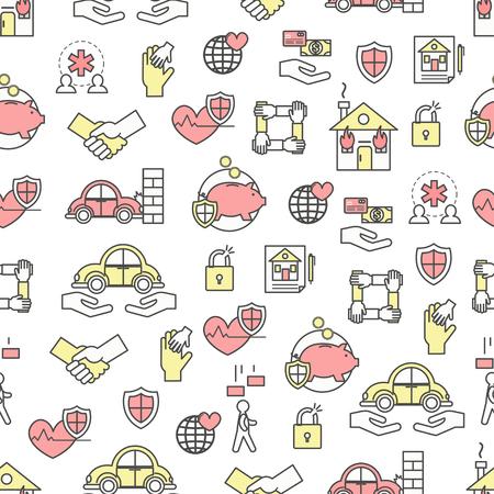 Vector seamless pattern with life, health, property, deposit insurance symbols, design elements. Thin line art flat style design insurance background, wallpaper. Illustration