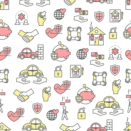 Vector seamless pattern with life, health, property, deposit insurance symbols, design elements. Thin line art flat style design insurance background, wallpaper. 일러스트